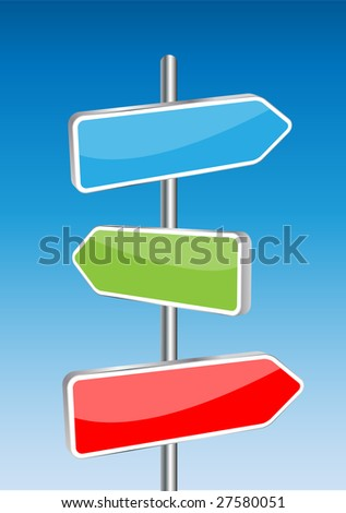 3D Vector direction signs and sky background. Any size and easy to edit illustration. - stock vector