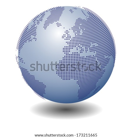 3d vector Earth globe. Dotted version - stock vector