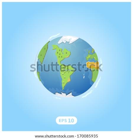 3D vector earth illustration - stock vector
