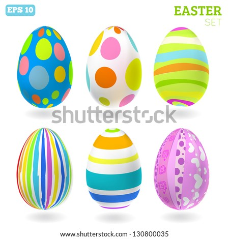 3D Vector easter eggs set with shadows. Easter set - stock vector