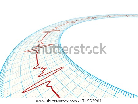 3d vector electrocardiography / ECG on the Powder Blue grid paper, eps10 - stock vector