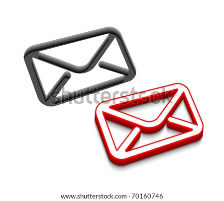3d vector email icon design with isolated on white. - stock vector