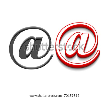 3d vector email sign design with isolated on white. - stock vector