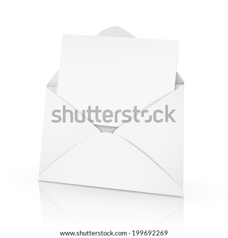 3d vector envelope and a blank card on white background - stock vector