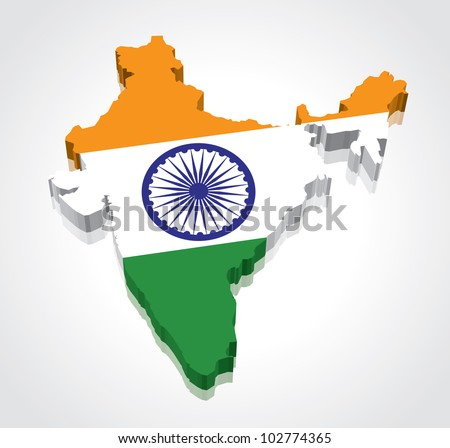 3D vector flag map of India - stock vector
