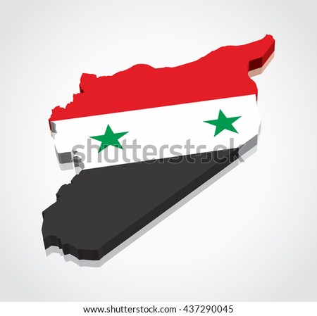 3D vector flag map of Syria - stock vector