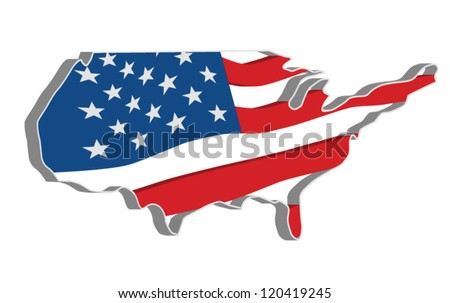 3D vector flag map of the United States of America. - stock vector