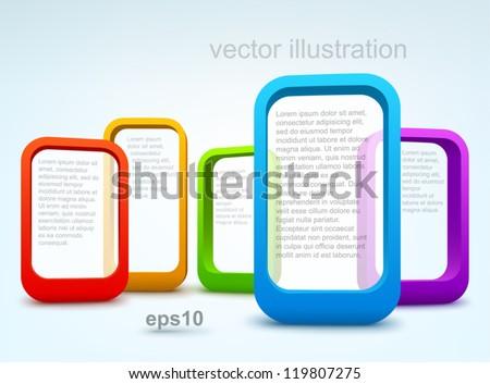 3d vector frames - stock vector
