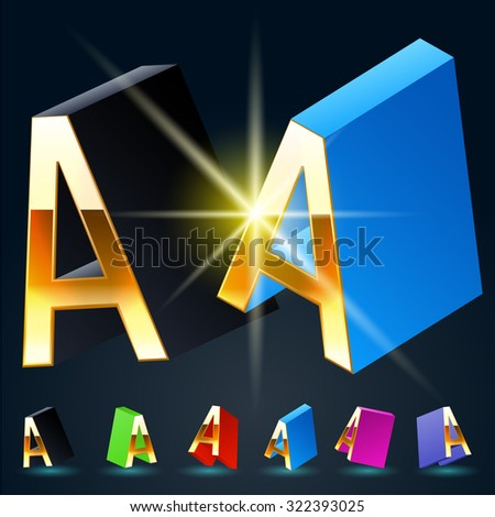 3D vector futuristic luxury alphabet with gold. All symbols in set have 8 random points of view and 6 different colors. Letter A - stock vector