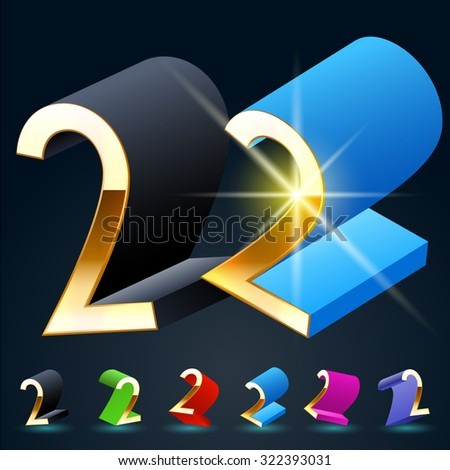 3D vector futuristic luxury alphabet with gold. All symbols in set have 8 random points of view and 6 different colors. Number 2 - stock vector