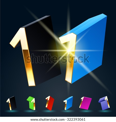 3D vector futuristic luxury alphabet with gold. All symbols in set have 8 random points of view and 6 different colors. Number 1 - stock vector