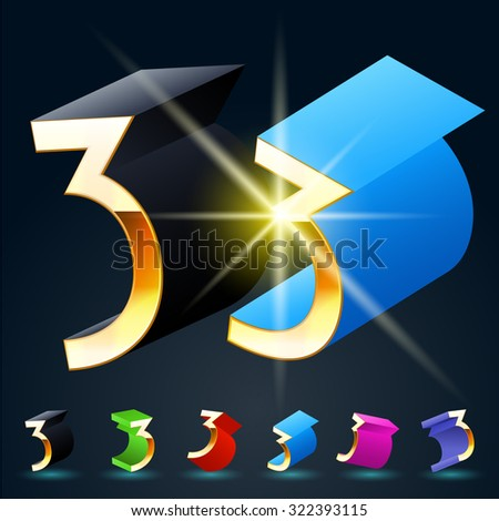 3D vector futuristic luxury alphabet with gold. All symbols in set have 8 random points of view and 6 different colors. Number 3 - stock vector