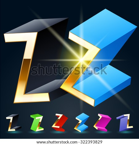 3D vector futuristic luxury alphabet with gold. All symbols in set have 8 random points of view and 6 different colors. Letter Z - stock vector