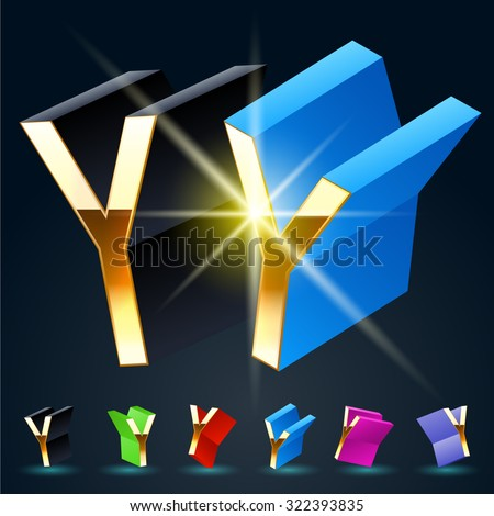 3D vector futuristic luxury alphabet with gold. All symbols in set have 8 random points of view and 6 different colors. Letter Y - stock vector