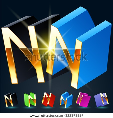 3D vector futuristic luxury alphabet with gold. All symbols in set have 8 random points of view and 6 different colors. Letter N - stock vector
