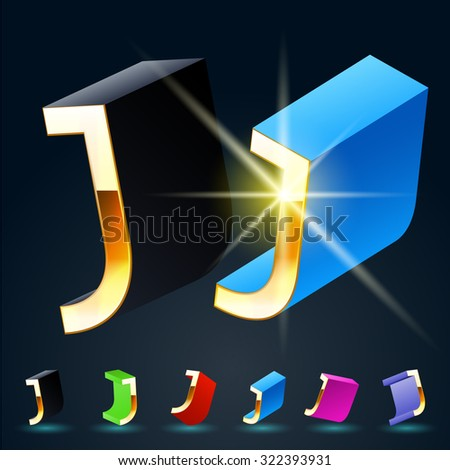 3D vector futuristic luxury alphabet with gold. All symbols in set have 8 random points of view and 6 different colors. Letter J - stock vector