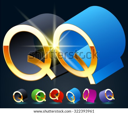 3D vector futuristic luxury alphabet with gold. All symbols in set have 8 random points of view and 6 different colors. Letter Q - stock vector