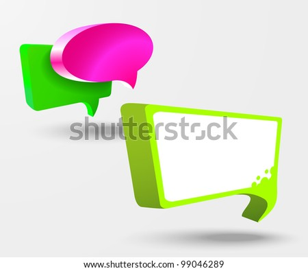 3d vector glass chat boxes - stock vector