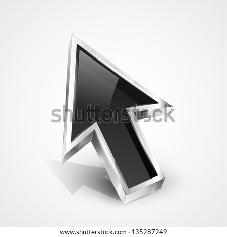 3d vector glossy arrow mouse pointer. EPS10 - stock vector