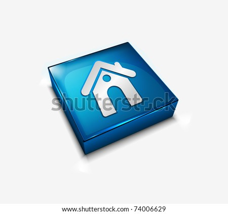 3d vector glossy home web icon design element. - stock vector