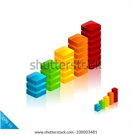 3d vector graph icons - stock vector