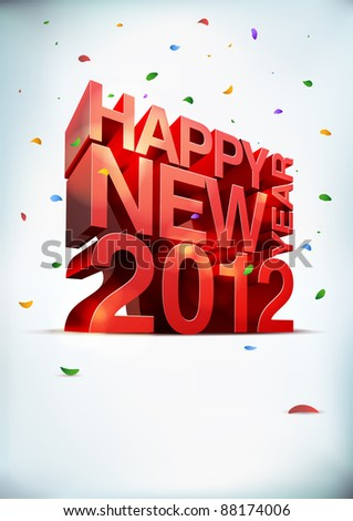3D vector Happy new year 2012. Elements are layered separately. - stock vector