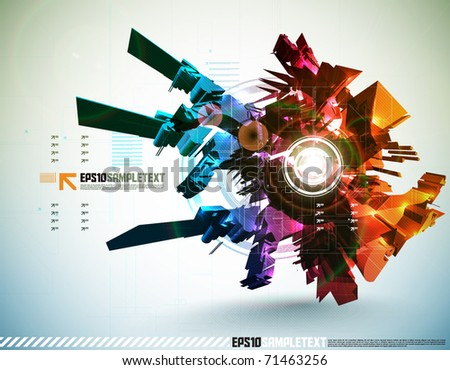 3D Vector High Tech Element - stock vector