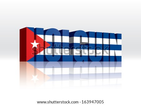 3D Vector Holguin (Cuba) Word Text Flag