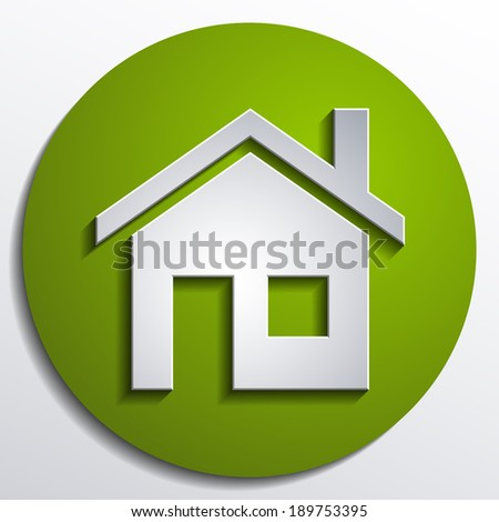 3d vector home icon design with isolated on green background button - stock vector