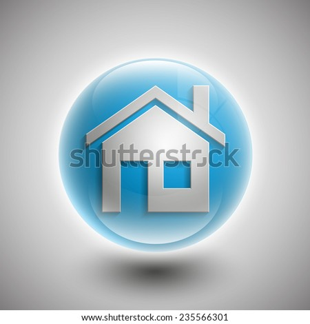 3d vector home icon design with isolated on sphere background button - stock vector