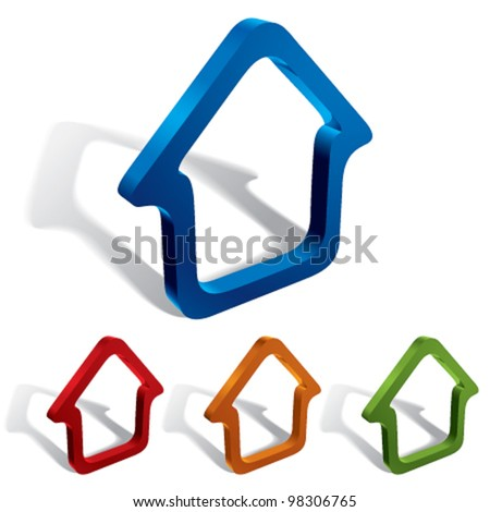 3d vector home icons design, color set. - stock vector