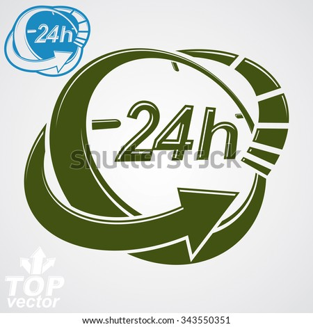 3d vector 24 hours graphic symbol with additional version. Twenty-four hours a day conceptual element. Time management idea pictogram. - stock vector