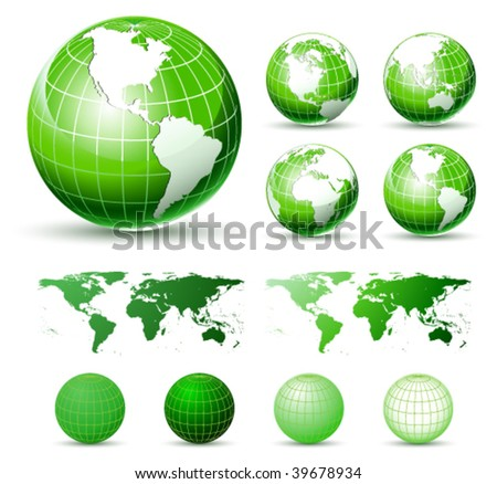3D Vector Icons: Glossy Green Earth Globes. Different views. elements Available For Making Other Views - stock vector