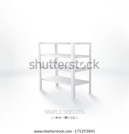 3d vector illsutration of empty and blank book or shop shelves - stock vector