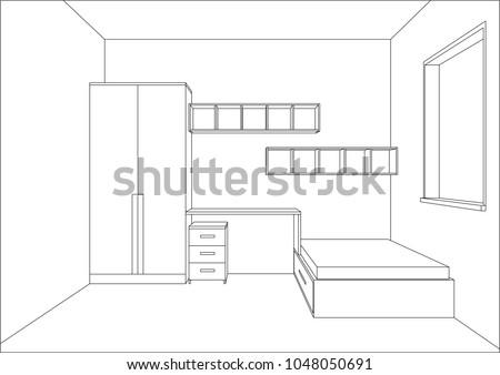 3 d vector illustration modern kids bedroom stock vector for 3d bedroom drawing