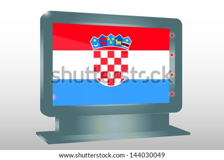 3D Vector Illustration of a Glass Holder isolated with the flag of Croatia - stock vector