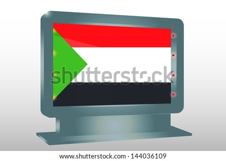3D Vector Illustration of a Glass Holder isolated with the flag of Sudan - stock vector