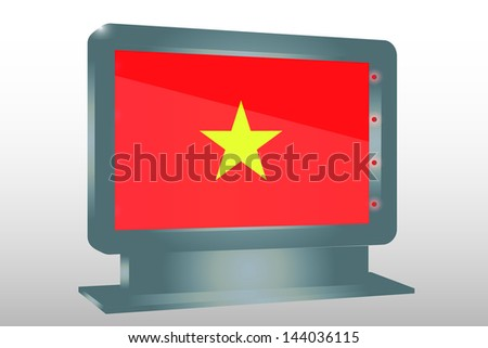 3D Vector Illustration of a Glass Holder isolated with the flag of Vietnam - stock vector