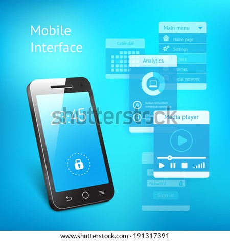 3d vector illustration of a modern smartphone or mobile phone with a blue screen showing the time and a lock symbol with various elements for the user interface in a communications concept - stock vector