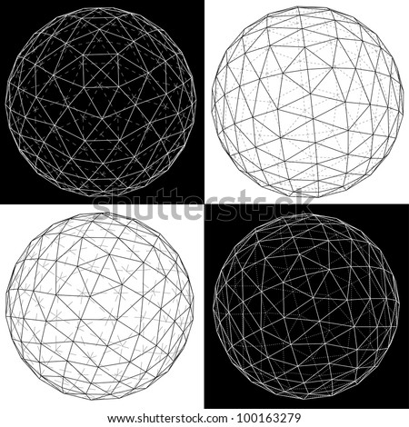 3D vector illustration of four spheres. - stock vector