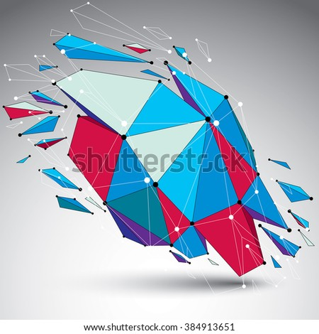 3d vector low poly object with connected lines and dots, colorful geometric wireframe shape with refractions. Asymmetric perspective shattered form. - stock vector