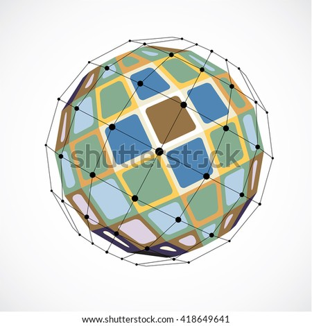 3d vector low poly spherical object with black connected lines and dots, geometric colorful wireframe shape. Perspective facet orb created with squares.
