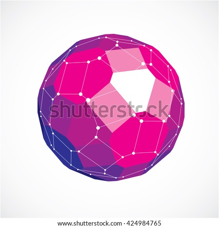 3d vector low poly spherical object with white connected lines and dots, geometric purple wireframe shape. Perspective facet ball created with squares and pentagons. - stock vector