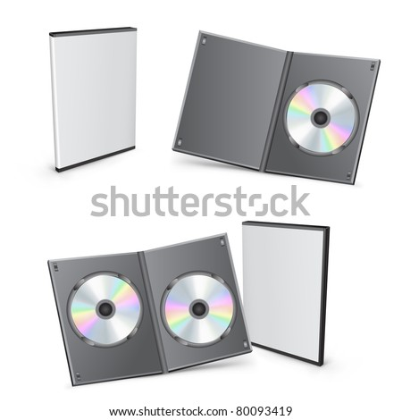 3d vector mesh disc boxes isolated on the white background - stock vector