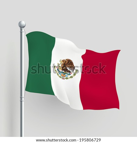 3d vector Mexico flag blowing in a breeze