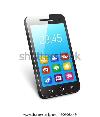 3d vector mobile phone  cellphone  or smartphone with a reflective blue screen showing the time and icons for social media networking  home  camera  organizer  analytics  cloud computing  and a globe - stock vector