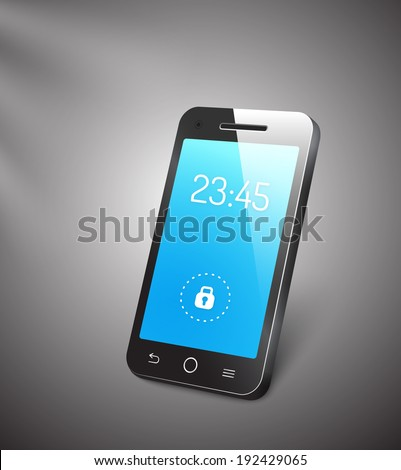 3d vector mobile phone or smartphone with a blue screen showing the time and a locked symbol with a reflective surface standing upright angled on a grey background - stock vector