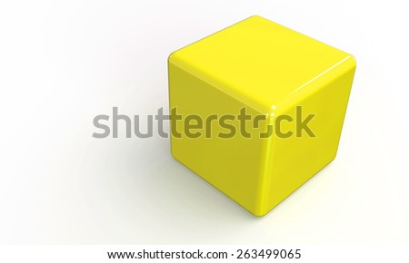 3D vector model of a yellow Cube. isolated on white. The cube has a shadow. - stock vector