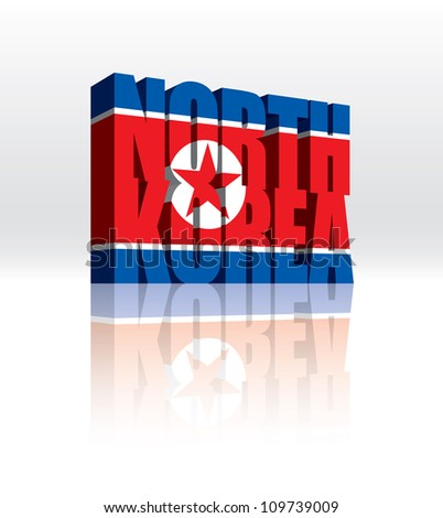 3D Vector North Korea Word Text Flag