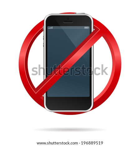 3d vector of no cell phone sign isolated on white background
